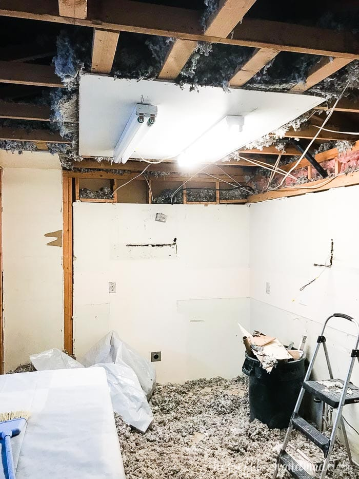 We had to move all those wires hanging down in the soffit. Always be prepared with a contingency budget when doing a DIY kitchen remodel. Housefulofhandmade.com