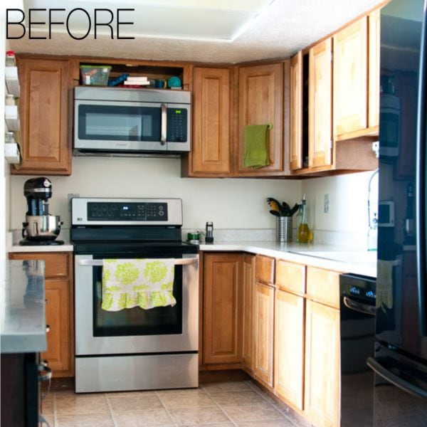 We are remodeling our 1979 oak kitchen to make it brighter. See our budget farmhouse kitchen design and follow along on our 6 week remodeling journey! Housefulofhandmade.com