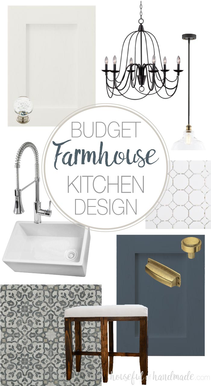 Turn an outdated kitchen into a modern farmhouse kitchen with this budget farmhouse kitchen design. White and navy cabinets will be the center of this classic kitchen design. Housefulofhandmade.com