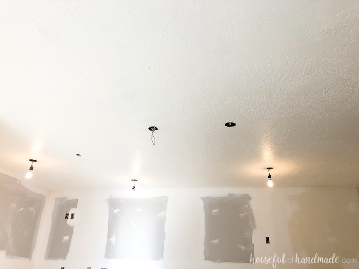 Behr Pot of Cream is the perfect ceiling paint. Just a hint of warmth makes it the perfect color for our farmhouse kitchen remodel. Housefulofhandmade.com