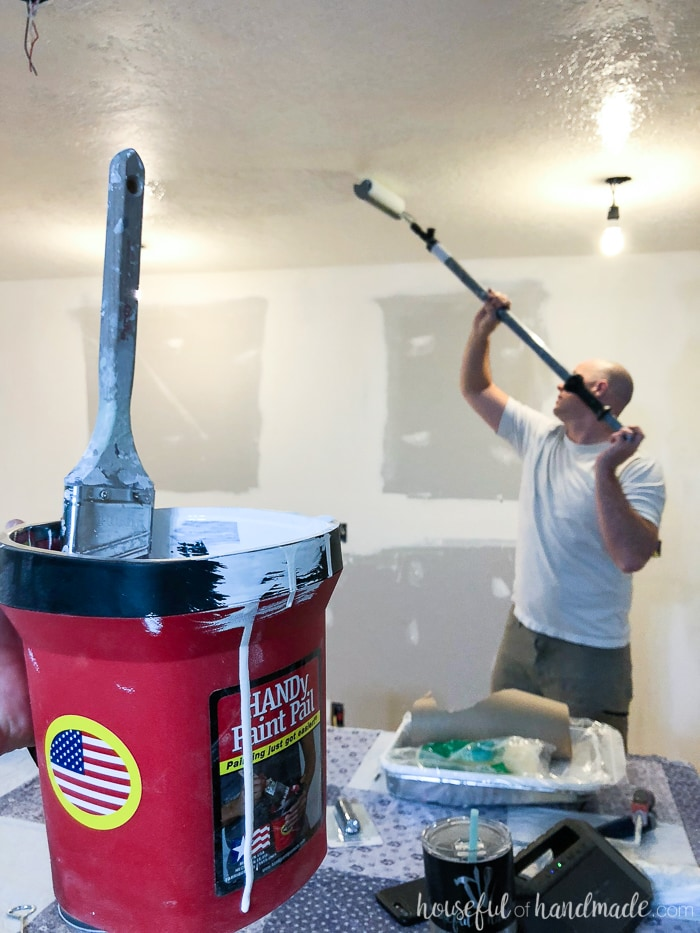 Painting the ceiling is easier with the Handy Paint Pail and HomeRight Paint Stick. Housefulofhandmade.com