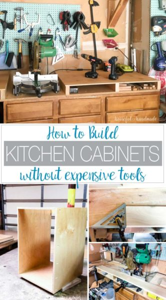 Have you ever wanted to build your own cabinets but thought you would need thousands of dollars in tools to do it? Well I am here to show you how to build kitchen cabinets with just a few inexpensive tools. You can build your own cabinets with these simple tools and save thousands of dollars instead (even after buying the tools you might not already have). Housefulofhandmade.com