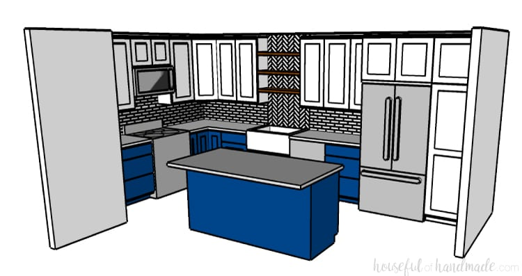 A SketchUp rendering of the budget farmhouse kitchen. White upper cabinets and navy lower cabinets. Open shelving over the sink. Housefulofhandmade.com