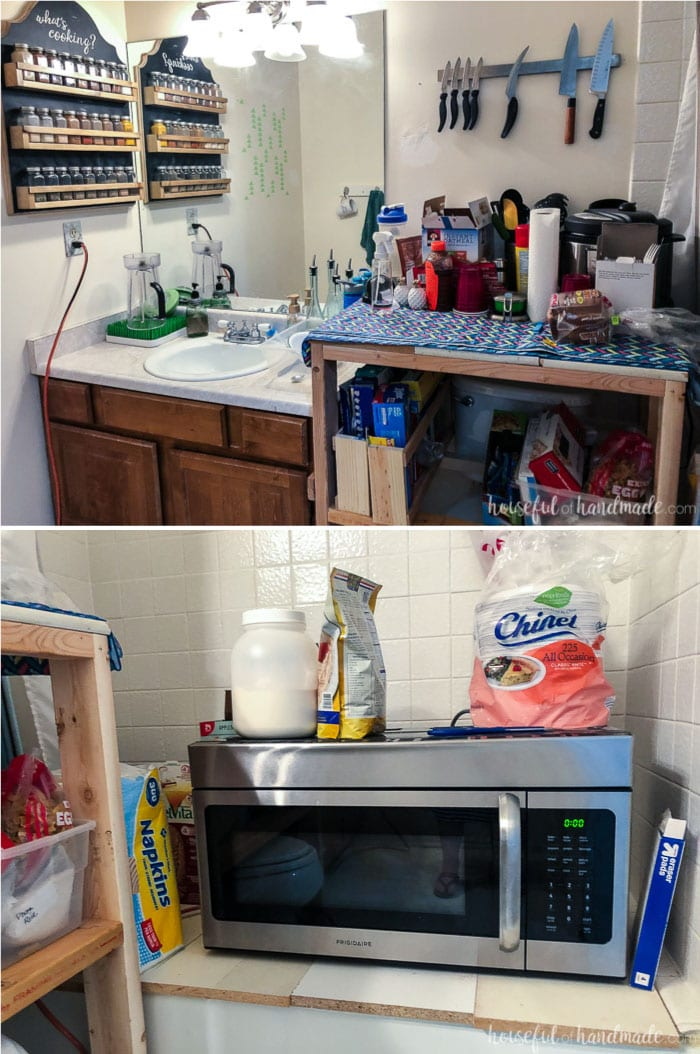 A temporary kitchen is set up to help survive a kitchen remodel. Use an extra bathroom and create more counter space and storage space with shelves made from scrap wood. Housefulofhandmade.com