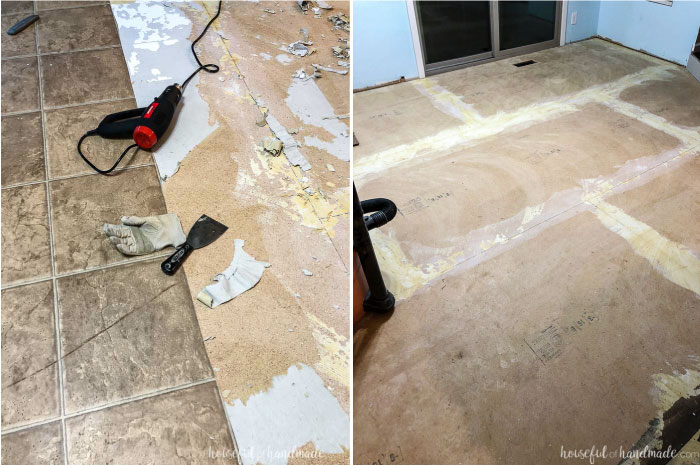 Remove the old linoleum with a scraper and a heat gun. This gives the new flooring a clean slate. Housefulofhandmade.com
