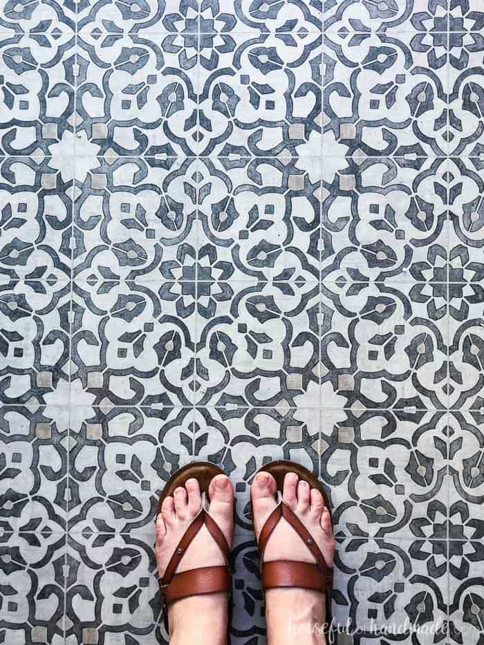 See why we went for a sheet vinyl flooring in our new kitchen. Love this Filigree pattern. Housefulofhandmade.com
