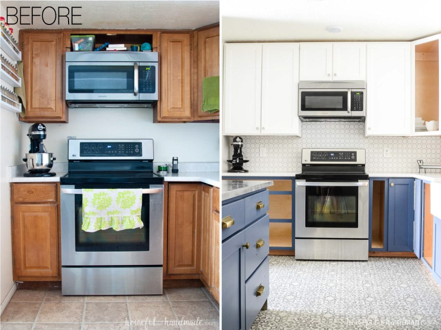 See how we transformed our kitchen on a budget. We turned a dated kitchen into a bright welcoming space. Housefulofhandmade.com