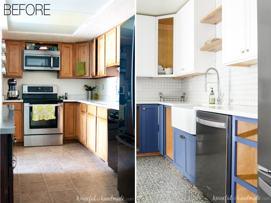 Turn your outdated kitchen into a dream kitchen. The new navy and white kitchen cabinets are gorgeous with the patterned vinyl floor and farmhouse sink. Housefulofhandmade.com