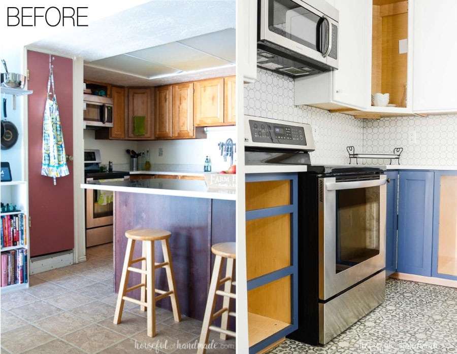 See the full budget farmhouse kitchen remodel at Housefulofhandmade.com.