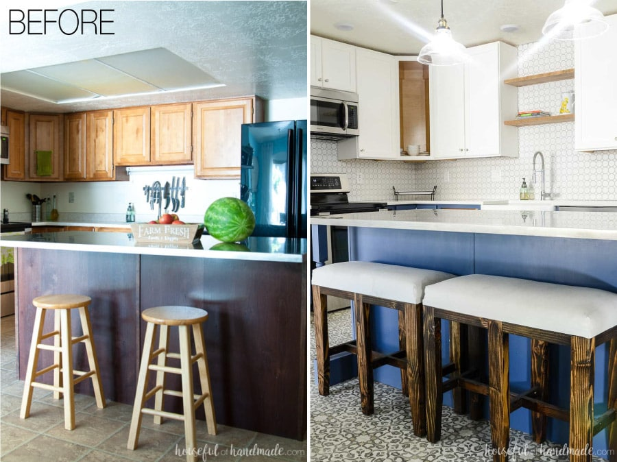This beautiful kitchen was transformed from dark to bright in just 5 weeks and on a budget. Housefulofhandmade.com
