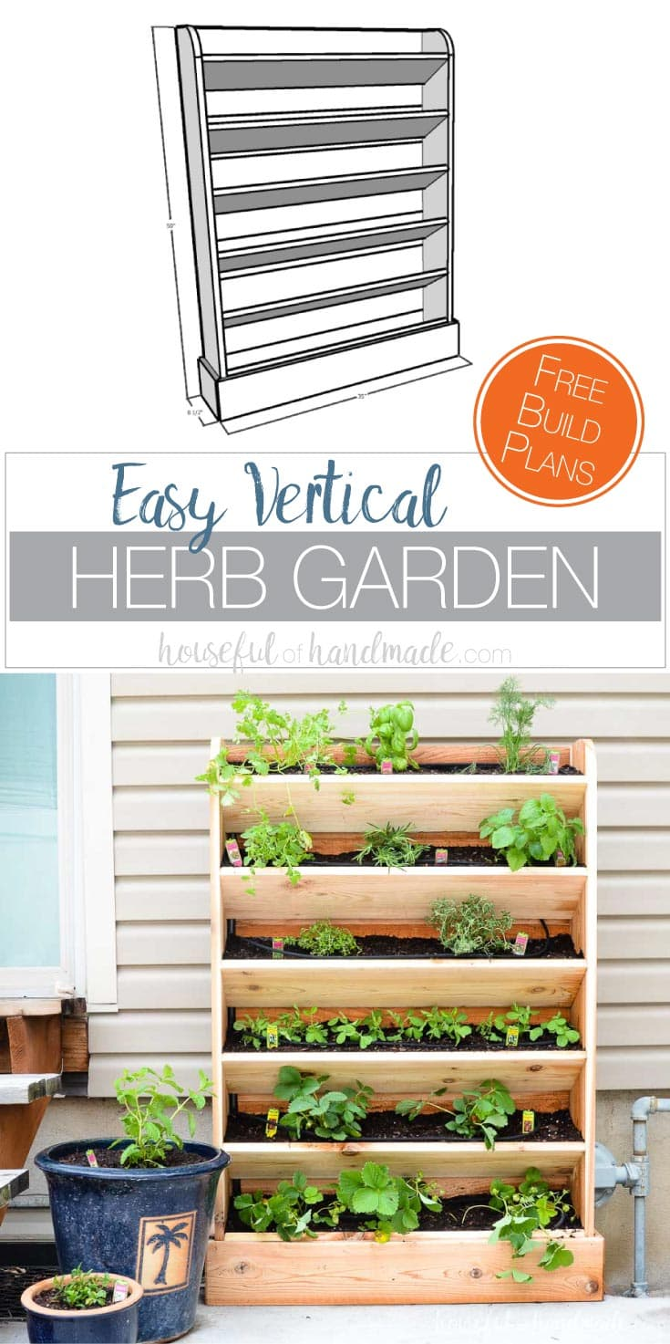 Create a DIY vertical garden for the perfect small space garden solution. This cedar herb garden has a lot of space to grow your favorite herbs and plants. Includes a tutorial for a built in drip watering system will help make watering your vertical garden even easier. Get the free build plans at Housefulofhandmade.com.