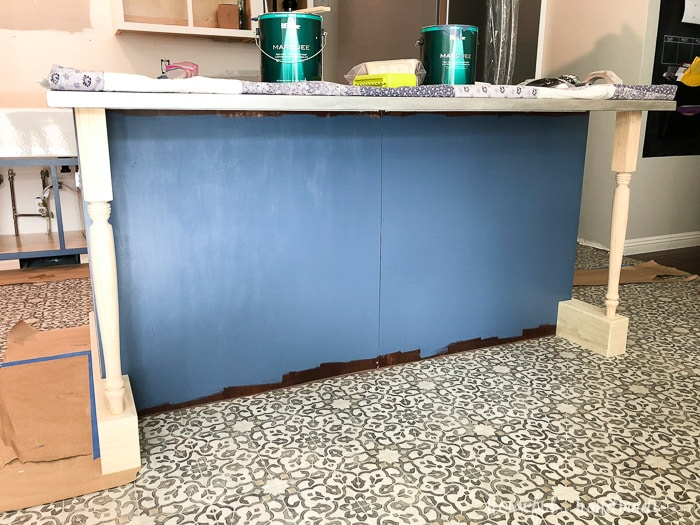 The new island bases shown attached to kitchen island prior to painting.