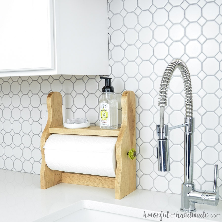 side view of diy farmhouse paper towel holder next to sink