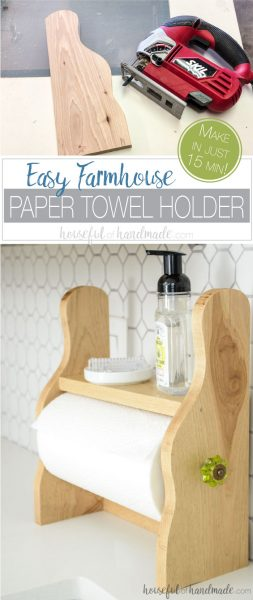 Build a beautiful farmhouse paper towel holder in just 15 minutes with this easy DIY tutorial. This rustic paper towel holder is the perfect under cabinet paper towel dispenser with a shelf to store other items you need to keep at hand. For the full tutorial, visit Housefulofhandmade.com.