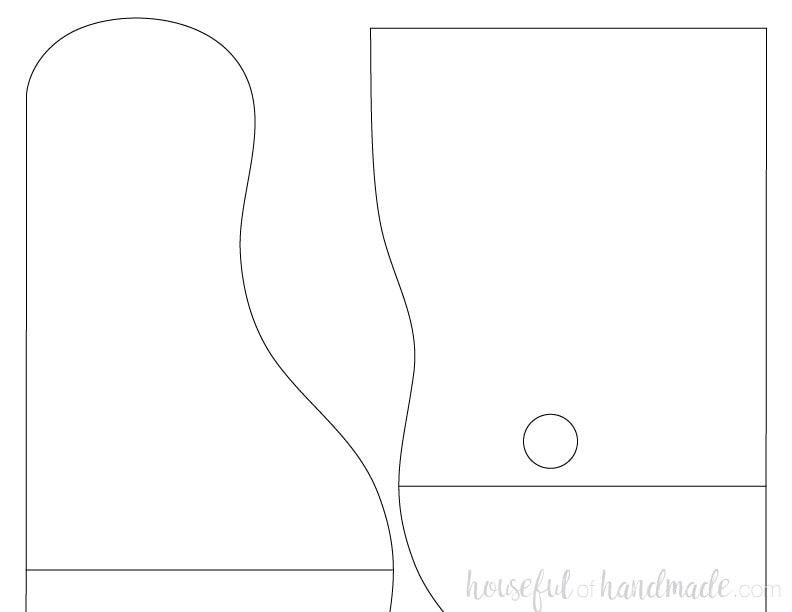 Template of the decorative sides of our farmhouse paper towel holder. Get the full tutorial at Housefulofhandmade.com.