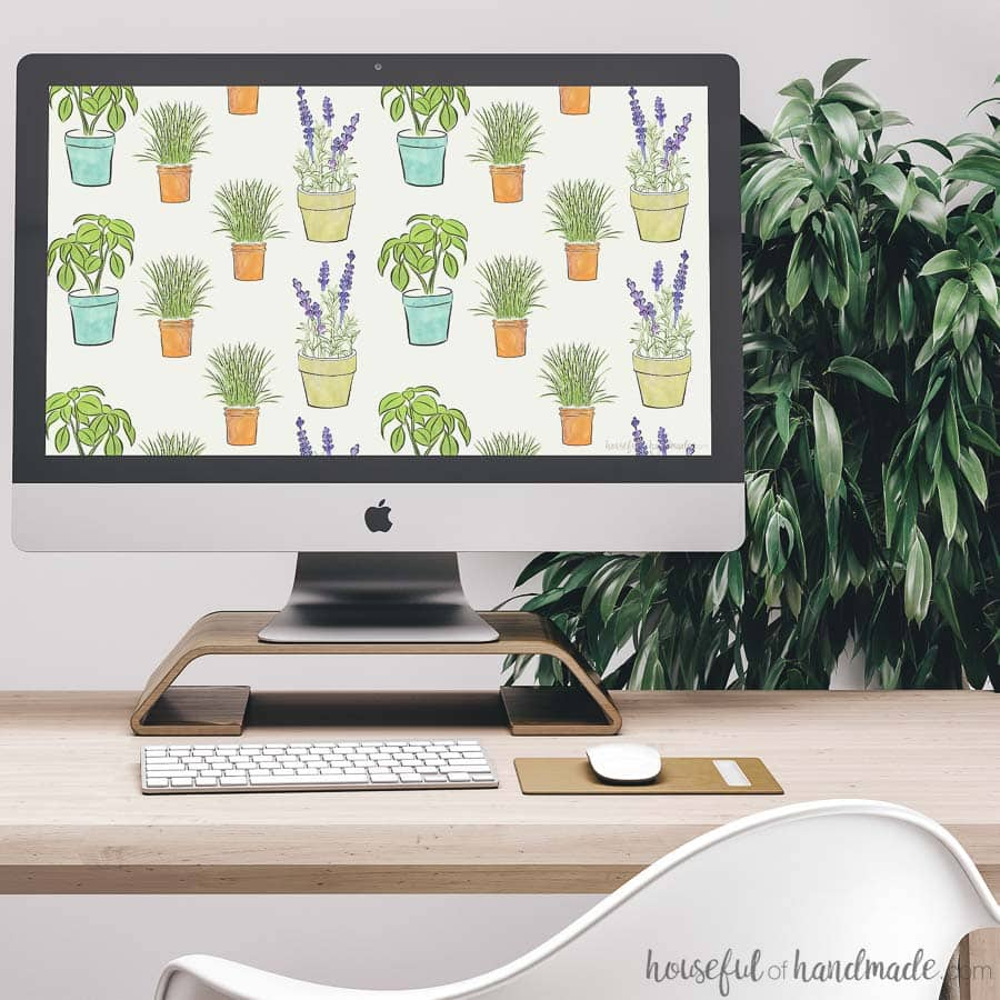 Decorate your electronics this spring with this hand-drawn herb design. These free digital backgrounds for May come with or without a calendar to keep you organized. Housefulofhandmade.com