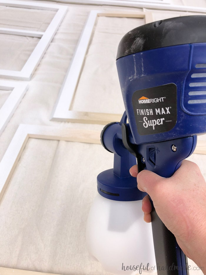 Use a paint sprayer to paint unfinished cabinets and get a super professional finish. Housefulofhandmade.com