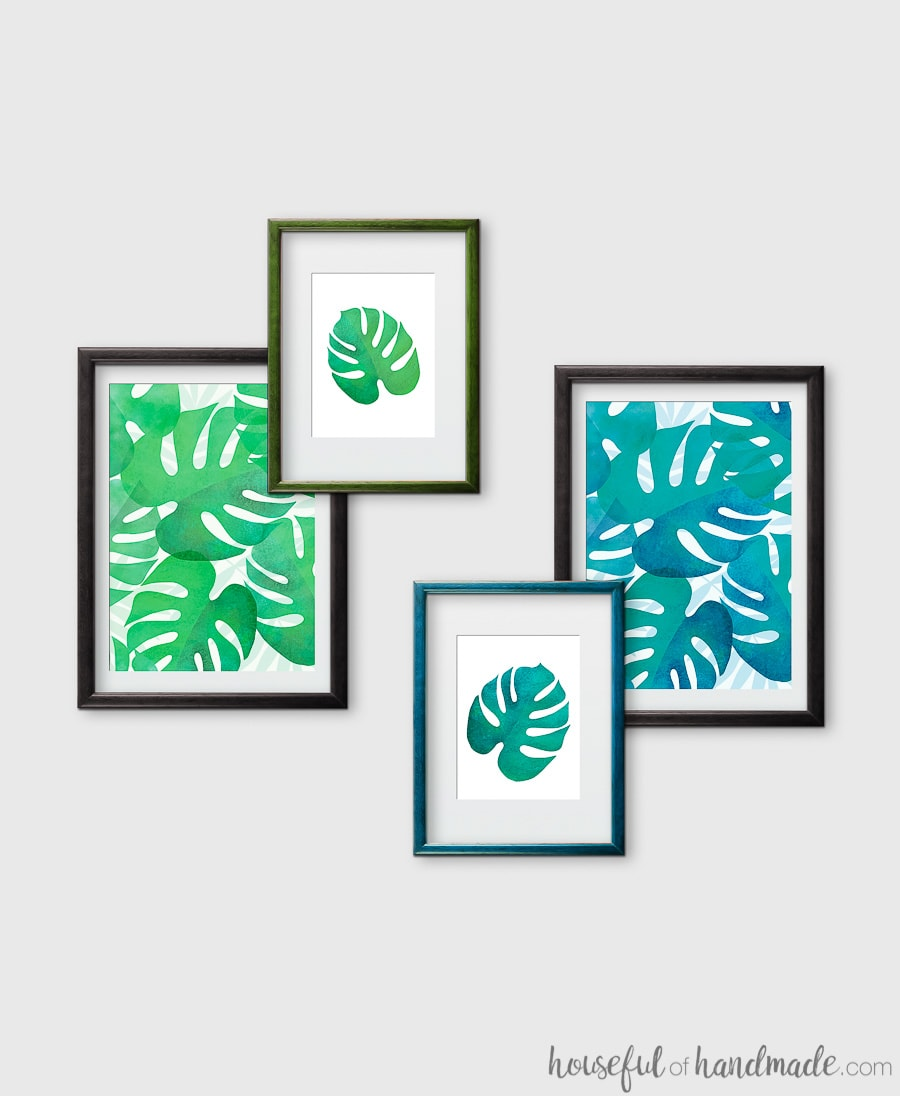 Summer decorating means bringing a little bit of island life to our mountain home. These free printable leaf prints are the easiest way to add summer decor on a budget. The bright green and blue palm leaf art is perfect for adding a bit of boho tropical decor to any home. Download the 4 different designs today! Housefulofhandmade.com