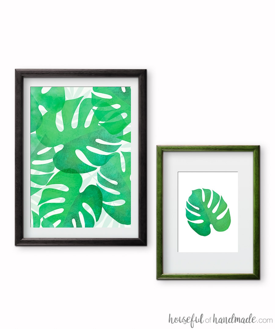 Green tropical leaf prints are the perfect summer decorating idea. These free printable palm leafs in green add lots of tropical decor to any space. Housefulofhandmade.com