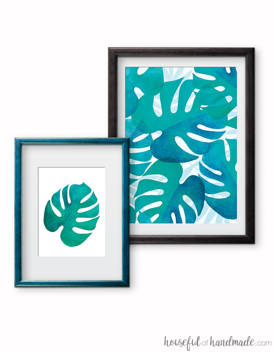 I love the turquoise color of these tropical leaf prints. Get the free printable palm leaf art today at Housefulofhandmade.com.