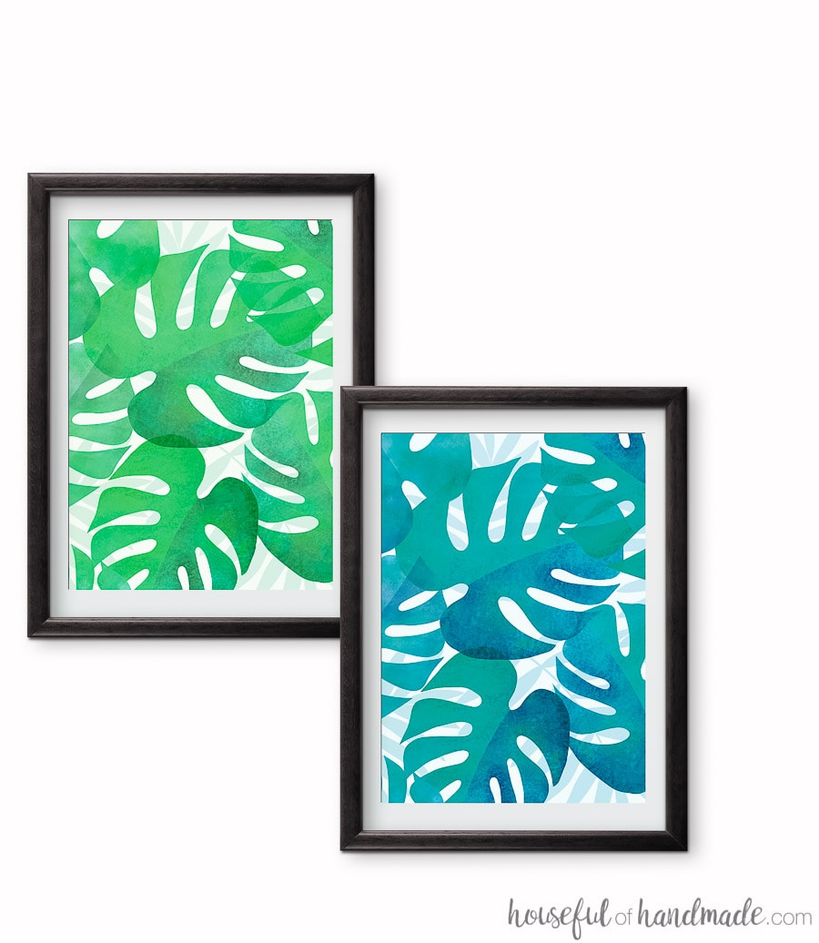 Add tropical art to your summer decor with these tropical leaf patterns. The free printable tropical leaf art comes in 2 different tropical colors. Housefulofhandmade.com