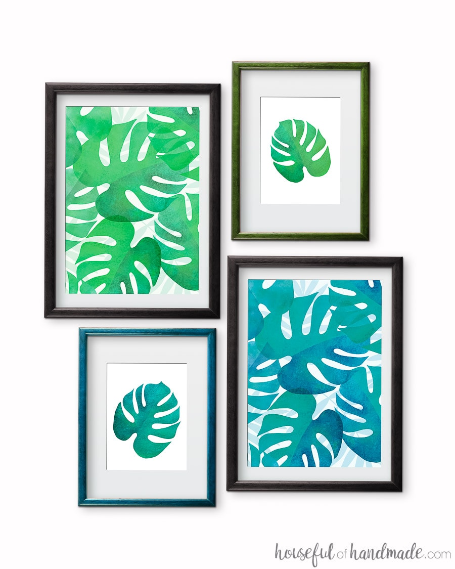 These free printable tropical leaf prints are the perfect way to add island decor to any space. The four different variations of your favorite palm leaf make for instant summer decorating ideas. Housefulofhandmade.com