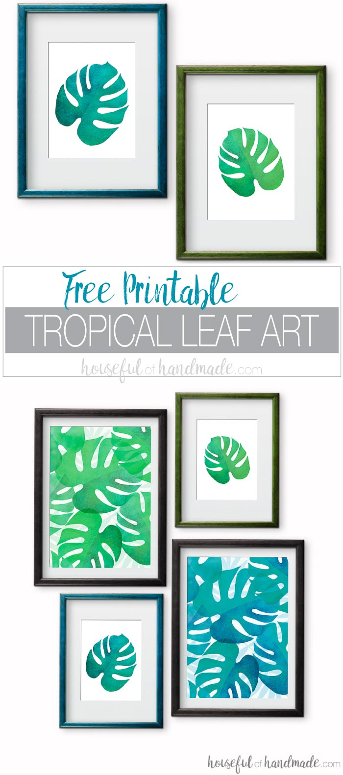Summer decorating means bringing a little bit of island life to the home. These free printable tropical leaf prints are the perfect way to add island decor to any space on a budget. The bright green and blue palm leaf art is perfect for adding a boho tropical vibe to any space. Download the 4 different designs today!