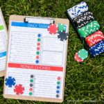 Use poker chips to create a kids chore system that works. Get the free printable chore chart at Housefulofhandmade.com.
