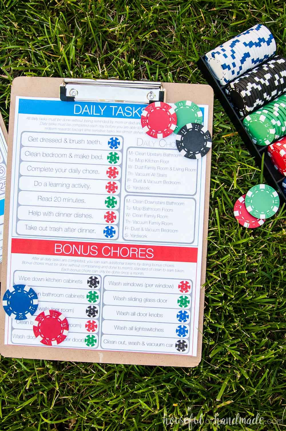 Poker chips used for rewards shown with printable kids chore chart on grass