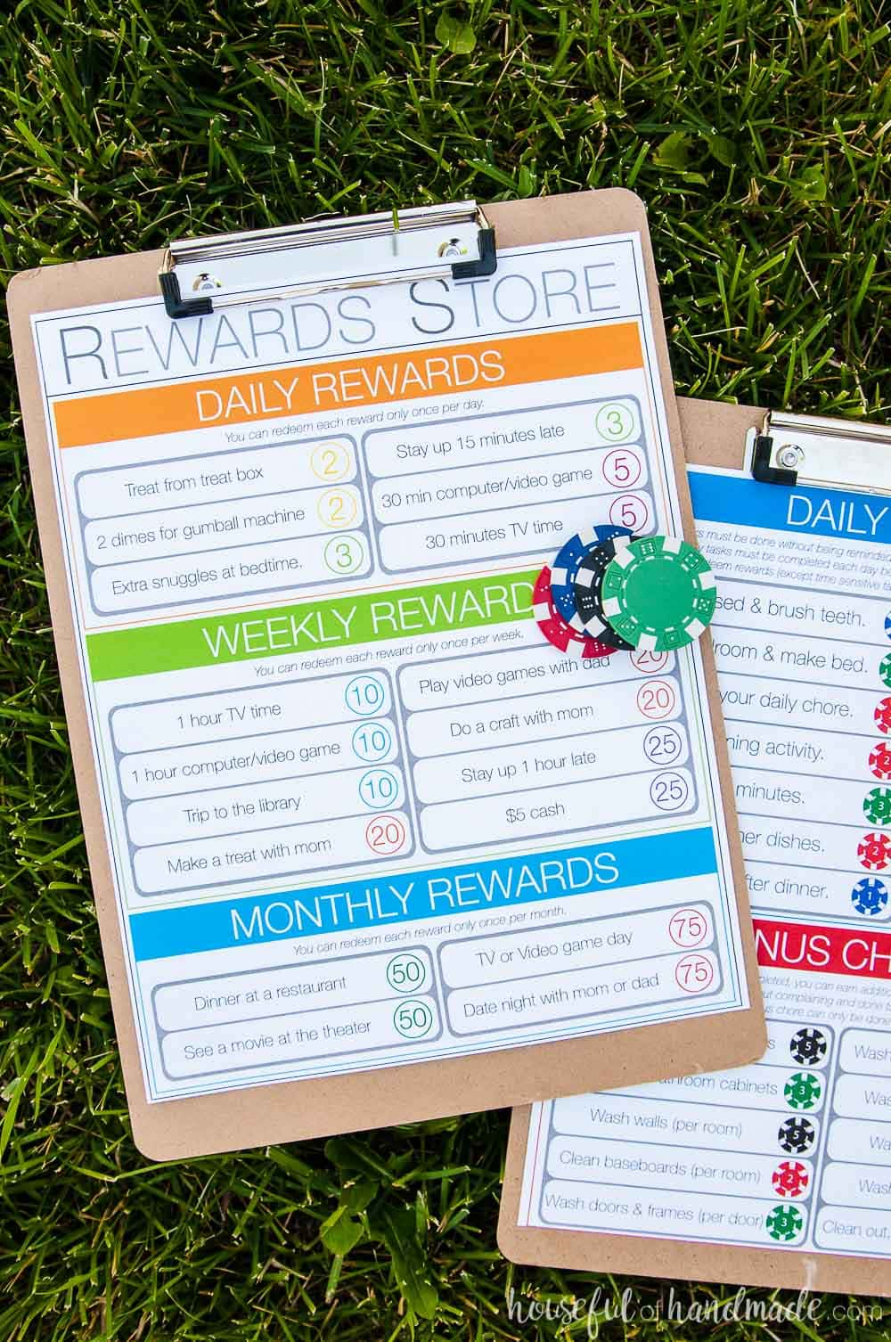 kids chore chart set of two on clip boards with poker chips for rewards