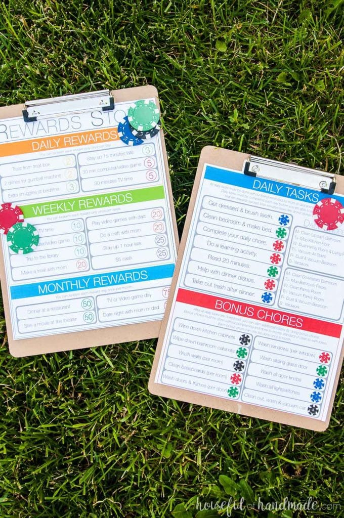 Create a kids chore system that works! This easy to manage chore chart for kids helps them to learn responsibility and savings. Includes a free printable kids chore chart so you can make your own chore system. Housefulofhandmade.com