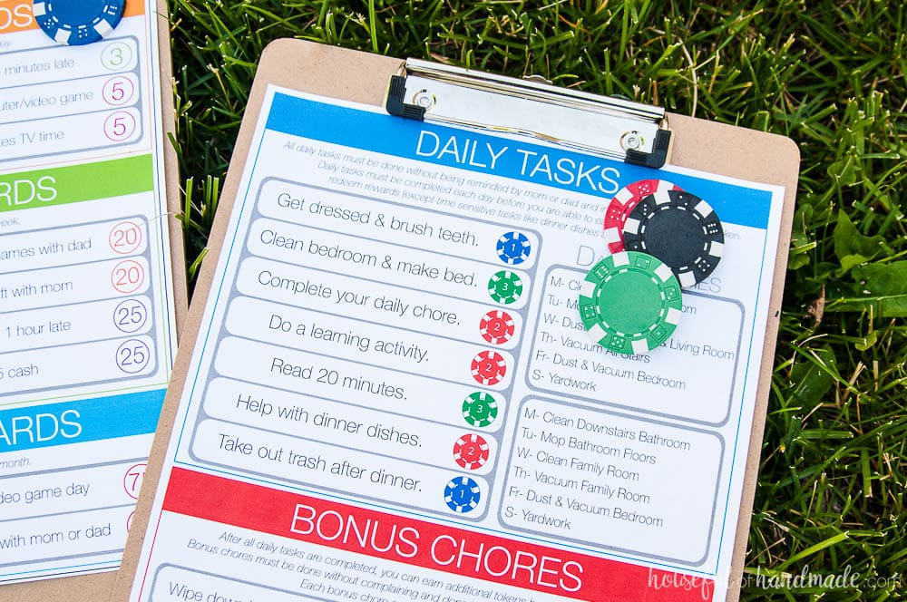 Make a kids chore system that actually works with this easy token and reward program. The free printables help you make your own family chore charts to help your kids be more responsible this summer. Housefulofhandmade.com