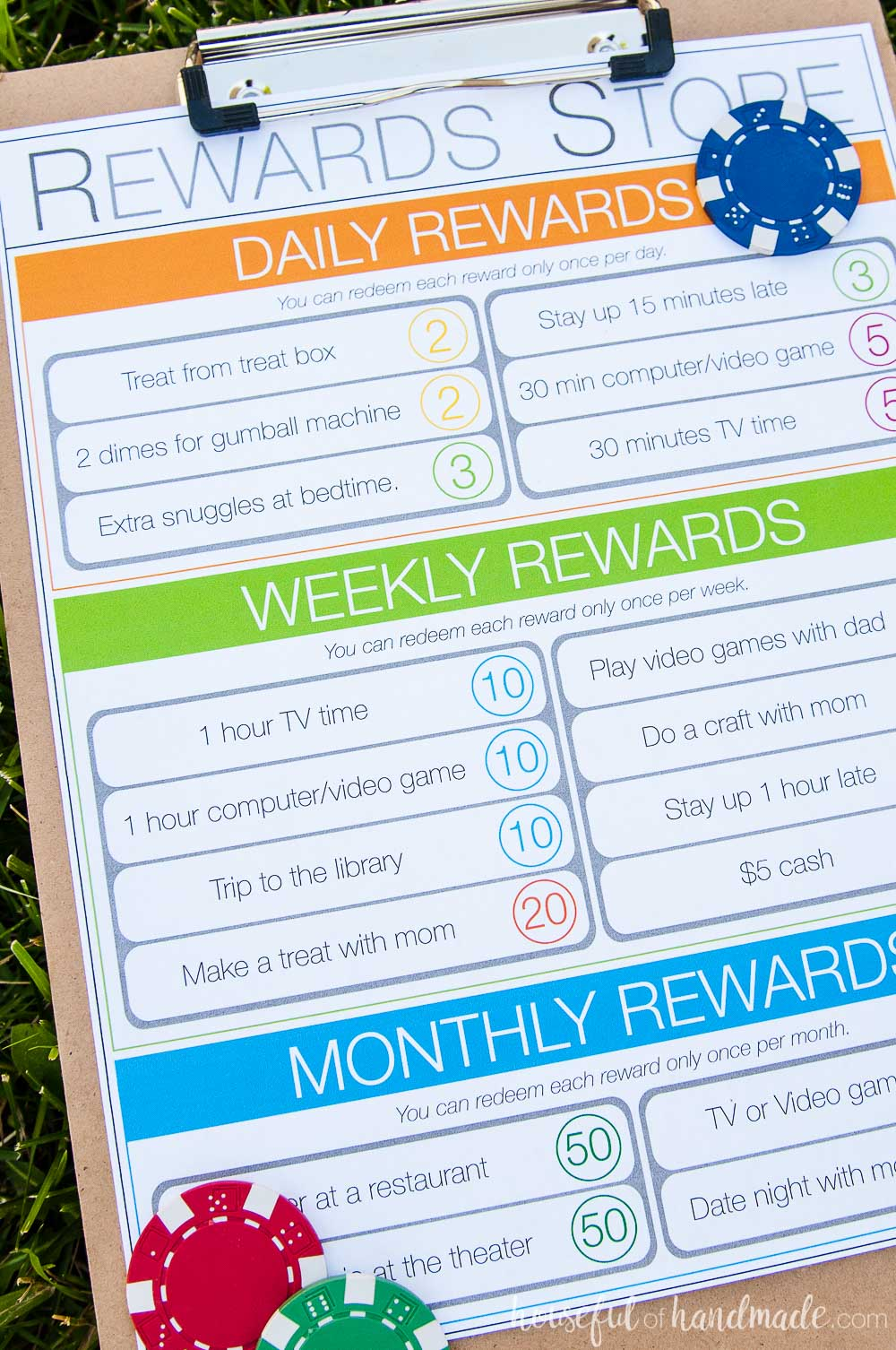 Kids chore chart system with daily rewards, weekly rewards and monthly rewards