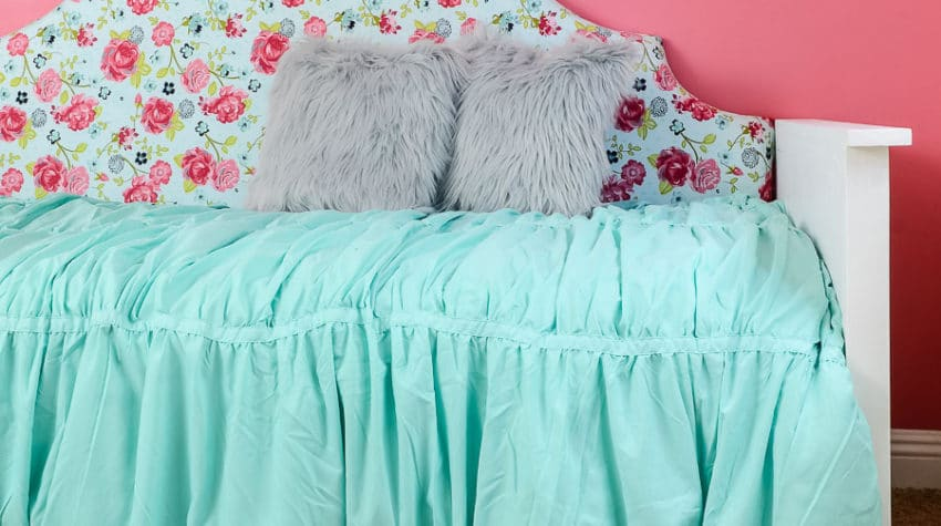Build an upholstered day bed with these free build plans. This beautiful fabric covered headboard is the perfect focal point for your bedroom. Housefulofhandmade.com