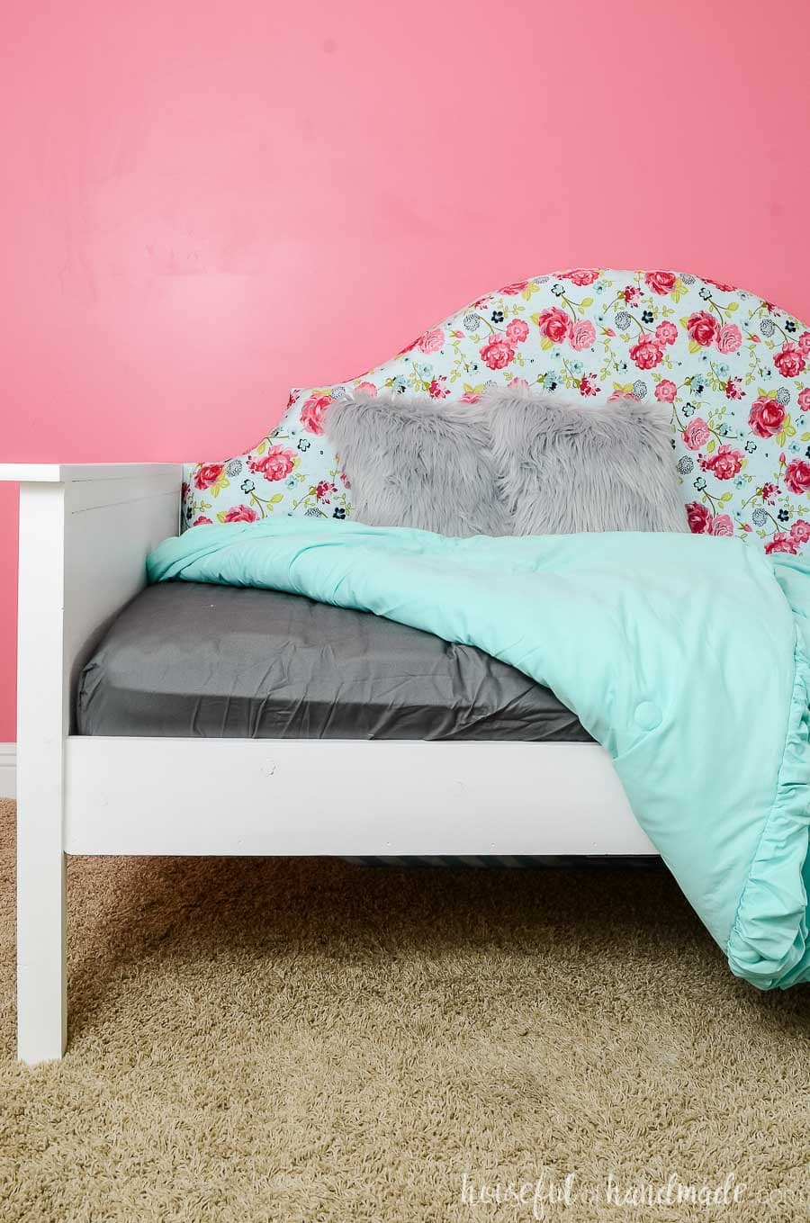 Day beds are the perfect bed for a small room or spare room. You can easily make them into seating during the day, they sit against a wall to take up less space, but you can quickly climb into bed to sleep. Plenty of room for storage or a trundle underneath. Get the free build plans at Housefulofhandmade.com.