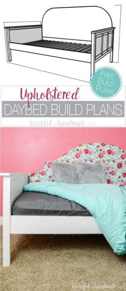 Create a statement in the bedroom with this beautiful upholstered day bed. This twin sized bed has room under it for storage or a trundle. And the fabric covered headboard makes the perfect focal point. Get the free build plans from Housefulofhandmade.com.