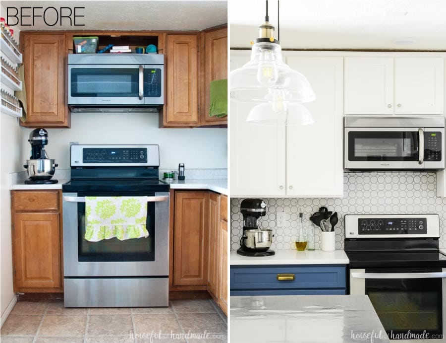 """Before and after of the farmhouse two tone kitchen remodel showing how we added 24"""" of counterspace next to the stove."""