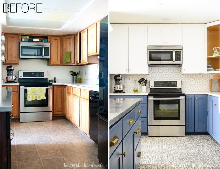 Before and after photos of a white and blue two tone kitchen remodel. Blue base cabinets with brass pulls and white upper cabinets with patterned tile floor.