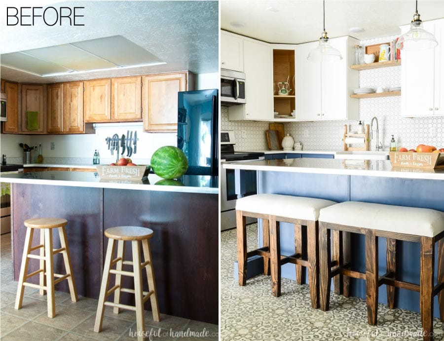 Before and after of the blue & white two tone kitchen remodel. Navy kitchen island with bar stool benches and white upper cabinets with white backsplash.