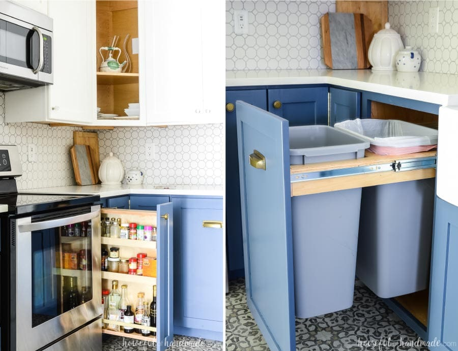 Close-up of two specialty drawer base cabinets in a kitchen. Pull out trash cabinet next to the sink and pull out spice drawer next to the stove.