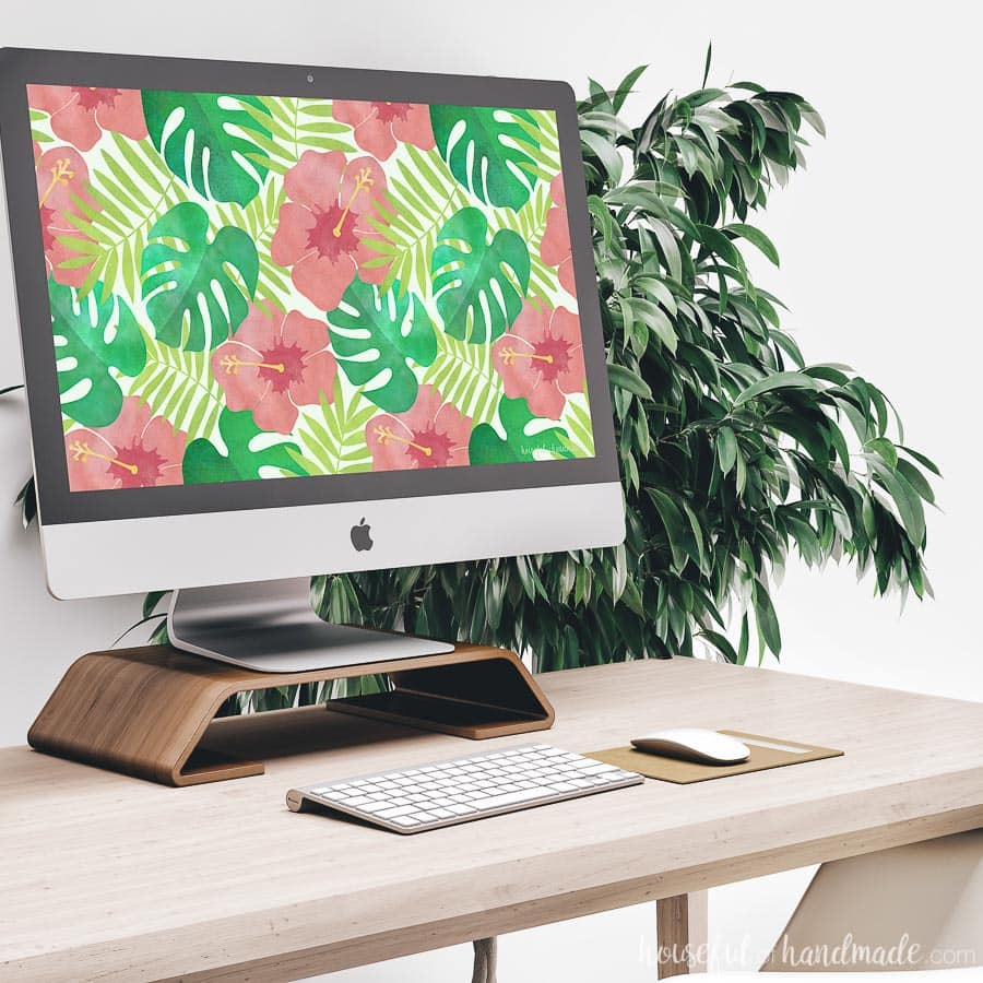 Decorate your computer screen for summer with these free digital backgrounds for July. The coral, green, and teal tropical print is perfect for adding island vibes to your workspace. Housefulofhandmade.com