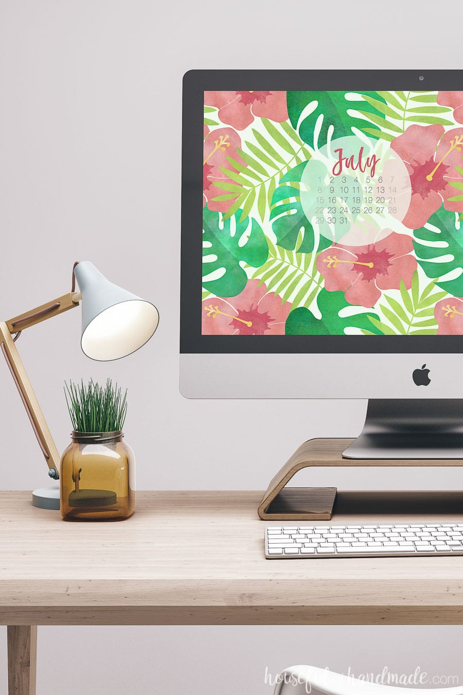 Take a vacation every time you see your screen with these free digital backgrounds for July. The bright colorful hibiscus and palm leaves are the perfect digital wallpaper for summer. Housefulofhandmade.com