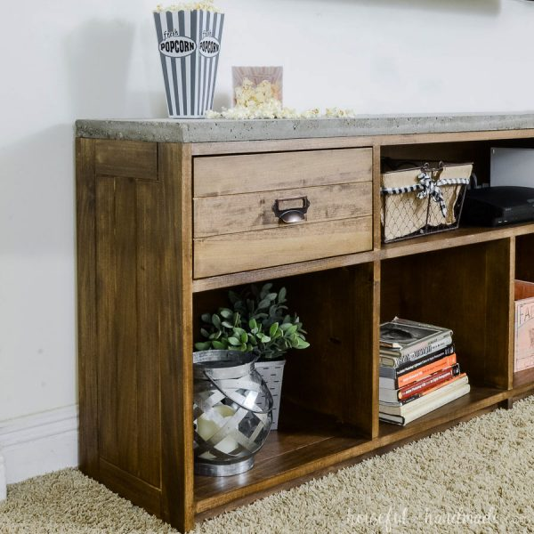 Rustic TV Stand with Concrete Top