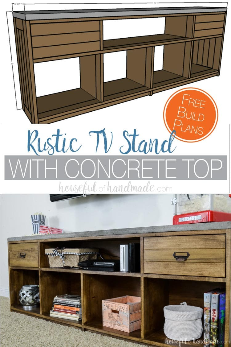 Build a rustic TV stand with concrete top with these free build plans. The large 6' TV console is the perfect balance to any television with plenty of room for all your components and decor. Housefulofhandmade.com #buildplans #woodworking #diyfurniture