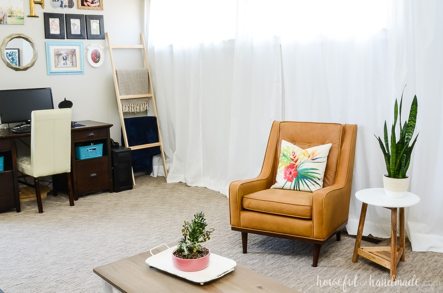Add tropical pillows to all the furniture to create a tropical living room for summer. Housefulofhandmade.com