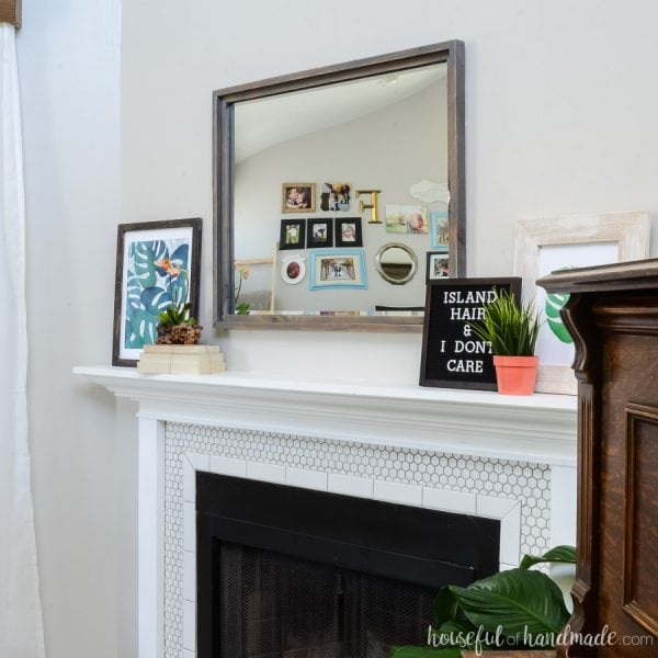 Tropical living room mantel decor. Palm printables, letterboard and accessories create a fun space for summer. Housefulofhandmade.com
