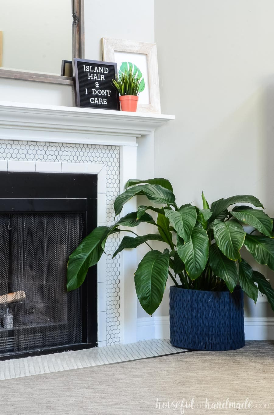 Tropical living room tour. See how we created a tropical oasis in our living room on a budget. Housefulofhandmade.com