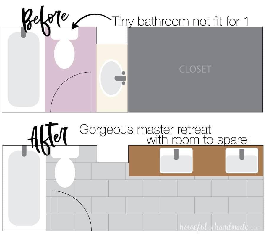 Before and after illustration of the floor plan of our DIY master bathroom retreat.