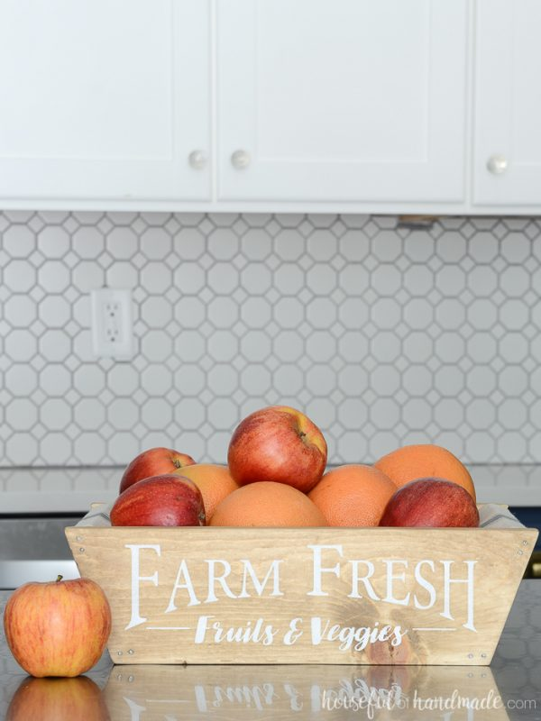 DIY kit for building a Farmhouse Produce Basket with fabric sling.