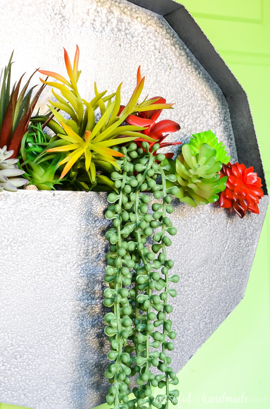 Red and green tinged succulents in the metal wall planter make a unique wreath idea.